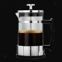 Stainless Glass French Press Espresso Coffee Maker Carafe 350ml 12oz Silver