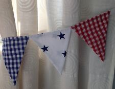BOYS BUNTING CURTAIN TIE-BACKS ~ red, blue gingham & stars