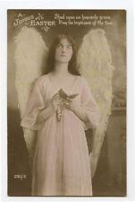 c 1910 Glamour Glamor PRETTY EASTER ANGEL angelic photo postcard