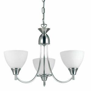Endon Alton Indoor 3lt 60W E14 Ceiling Pendant Light Satin Chrome & Opal Glass