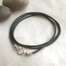 Schlichte LEDERKETTE 925 Silber Halskette Leder schwarz Sterlingsilber t742