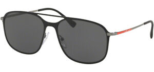 Prada Linea Rossa Men's Black/Gunmetal Pilot Sunglasses PS 53TS DG05S0 Italy