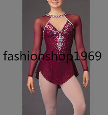New wine red Ice Figure Skating Dress  Baton Twirling Dress For Competitio xx138