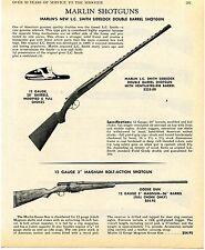 1969 Print Ad of Marlin LC Smith Sidelock DB & Bolt Action Goose Gun Shotgun