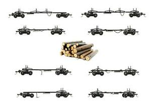 'ON30' GAUGE LOT OF 8 LOG CARRING WAGONS WITH LOGS