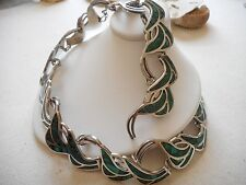 Vintage Mexico Taxco Sterling Inlaid Mosaic Malachite Necklace  106 grams  #400