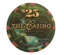 $25 RITZ CARLTON Casino SAN JUAN Puerto Rico GREEN UV dot Security Chip PAULSON