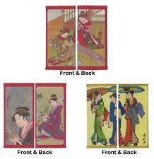 SET of 3 Japanese Rice Paper Wallet Geisha Guzheng Book Umbrella Made in Japan
