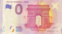 BILLET 0  EURO ARC DE TRIOMPHE PARIS  FRANCE  2017 NUMERO DIVERS