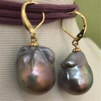 12-14mm south sea baroque grey pearl earring 14k hand-made HUGE REAL Aurora