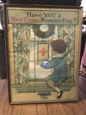 1918 ORIGINAL WWI POSTER HAVE YOU A RED CROSS SERVICE FLAG JESSE WILLCOX SMITH