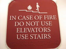 "Used 8"" x 8"" Elevator Fire Do Not Use Metal Sign w/Brail at Bottom [KD07]"