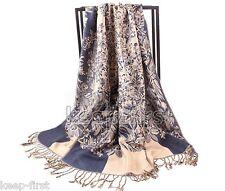 Dark Blue Fashion Women's Soft Floral Pashmina Shawl Wrap Stole Cashmere Scarf
