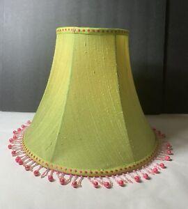 Silk Lamp Shade Bell Shape Green Pink Beaded