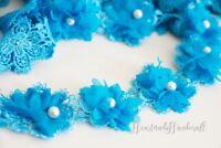 Blütenborte Blumenborte Lace Spitze nähen Hochzeit Dekoration Bänder Blau Stoff