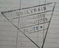 RARE+1952+chemin de fer francais+QUIEVRAIN+Blanc misseron+lettre de voiture+SNCF