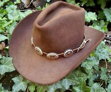 WESTERN HAT BAND BROWN LEATHER w 10 OVAL NP Conchos