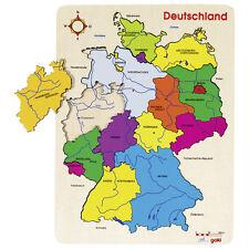 Puzzle Deutschland 40x30cm groß Holz Deutschlandkarte mit Bundesländern farbig