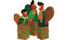 """FARMYARD FUN"" FOLK ART SET 3 RESIN ROOSTERS NEW from 5.9"" to 8.2"""