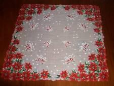 Vintage Christmas Poinsettia/Bells Hanky Hankies Handkerchief