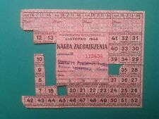 Karta Zaopatrzenia 1946 Purchasing Card.
