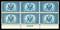 USAstamps Unused FVF US 1934 Airmail Eagle Plate Block of 6 Scott CE OG MNH