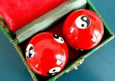 CHINESE RED YIN YANG STRESS RELEASE HEALTH MEDITATION BALLS BAODING EXERCISE A3