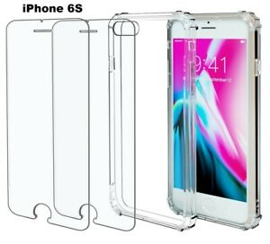 Case +2 Screen Protector iPhone 13 11 12 Pro Max 13 Pro XR X 6 7 8 Plus SE Clear