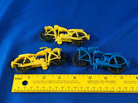1970s Toy Motorcycle Lot 3 Soft Plastic Antique-Style Blue Yellow Hong Kong VTG