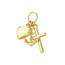 Glaube Liebe Hoffnung 333 8 Karat Gelbgold 11mm Klein Kinder Kettenanhänger 9094