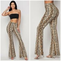 Brown Snake Print High Waist Pull On Flared Stretch Pants Womens S M L