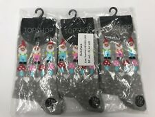 TOPSHOP LADIES 3 PACK GREY SOCKS ONE SIZE
