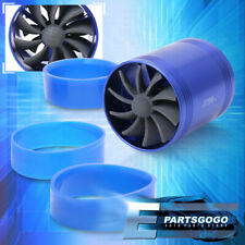 "Super Short Ram/Cold Air Intake Turbonator 2.5"" Dual Fan Gas Fuel Saver Blue"