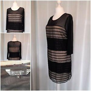 Principles Black Nude Sequin Short Evening Dress Size 16