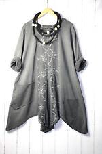 Moonshine Tunika Sweatshirt Cord Gr 46 48 50 Lagenlook Taschen Gr 1 Blumen Grau