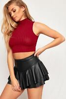 WOMEN LADIES STRETCH PU WET LOOK LAYERED FRILL RARA SKORTS MINI SKIRT SHORTS