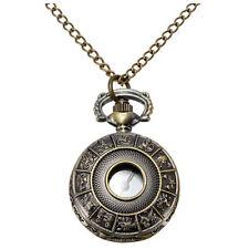 Mens Lady Bronze Antique Pendant Necklace Chain Hollow Pocket Watch Gift Y7 P6D0