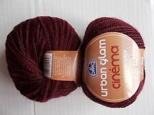 DMC Urban Glam Cinema  wool blend ribbon yarn, burgundy, lot of 2 (49 yds each)