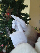 Men's Cotton Santa Gloves Parade White Wrist Snaps Top Stitching TTN853