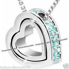 Turquesa Corazón de Cristal Collar Cadena Colgante Regalo Navidad Mujer Joyería