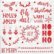 4x PAPER NAPKINS for Decoupage CHRISTMAS OH DEER HO HO HO MERRY JOY WISHES