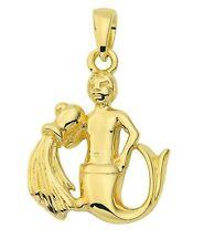 Oro 585 - Giallo - Ciondolo Segno Zodiaco - Acquario - Zodiacali