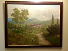 Original Antique French Oil Painting Of The Landscape with a Figure L. Schmitt.