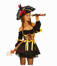 Sexy PIRATE WENCH COSTUME Mini DRESS CORSET Buccaneer Beauty Off Shoulders XL