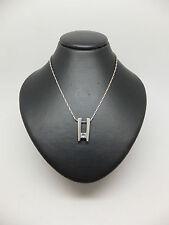 "18ct White Gold Diamond Pendant with 9ct 16"" Barleycorn Chain & British Hallmark"