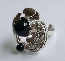 Designer Ring Moderist 835 Silber 2 Onyx - Cabochons rhodiniert silver