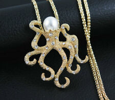 New yellow Enamel Pearl Crystal squid Charm Pendant Sweater Necklace Chain gift