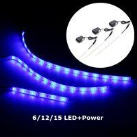 Aquarium Fish Tank LED Blue Lamp 6/12/15 LEDs Strip Light Tape + Power
