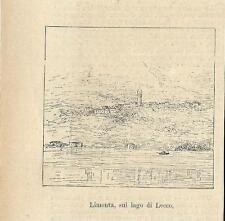 Stampa antica LIMONTA di Oliveto Lario Lecco Lago di Como 1886 Old antique print