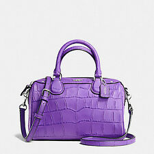 NWT Coach Embossed Croc Baby Bennett  Satchel Handbag in Purple F 55455 $295